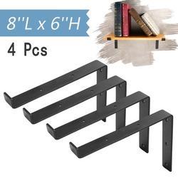 Set of 4 Metal Floating Shelf Brackets, 8''L x 6''H Handcrafted Forged Black Iron Shelf Brackets, DIY Wall Mounted Shelf Holder Coat Rack Hook Multifuntion