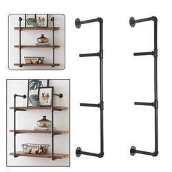 "(36"" Tall,4 Tier, 2 pcs) Industrial Retro Wall Mount Iron Pipe Shelf Hung Bracket DIY Storage Pipe Shelving Bookshelf (Hardware only)"