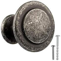 Antique Iron Kitchen Cabinet Knobs - 1 1/4 Inch Round Drawer Handles - 10 Pack of Kitchen Cabinet Hardware