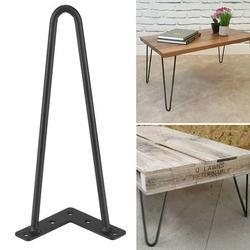 EECOO Metal Desk Legs, Set Of 4 Table Legs Heavy Duty Hairpin Legs Satin 2 Rod Mid Century Modern , Iron Desk Legs