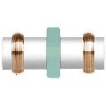 CRL SDK643W White Knob/Brass Ring Protruding Ring Style Back-to-Back Shower Door Knob