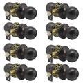 8 Pack Interior Round Privacy Door Knobs Door Lock Keyless Lockset Doorknobs for Bed and Bath in Oil Rubbed Bronze Adjustable Latch Backset by Probrico-Door Knob 607