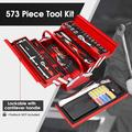 573PCS Electrician Automative Mechanic Tools Set, Hand Repair Tool Kit with 3-Layer Drawer Heavy Duty Metal Box, Include Professional Socket Wrenches Screwdriver DIY Tool Storage Case