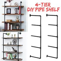 2Pcs 4/5-Tier Industrial Iron Pipe Shelf Brackets Wall-Mounted Bookshelf Frame, Customizable DIY Shelving, Floating Open Display Storage for Home, Office, Commercial Use