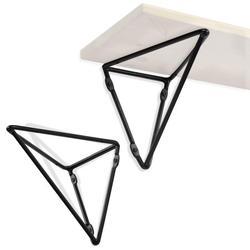 Wallniture Prismo Triangle Shelf Brackets for Floating Shelves Decorative Tray, Metal, Black, Set of 2