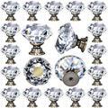 DeElf 12 pcs Clear Crystal Glass Drawer Cabinet Pulls Knobs Diamond Shape for Kitchen, Dresser, 30mm (1-1/4?), Vintage Chrome Bronze Color Base