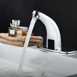 Mgaxyff Automatic Faucet,Basin Faucet,Silver Zinc Alloy Automatic Sensor Faucet Bathroom Basin Faucet Water Tap Home Accessories