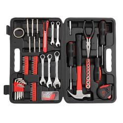 Home Repair Tool Box, 148 Piece Household Tool Set Hand Tool Kit Sets, Basic Auto Tools Mechanic Tool Boxes for Home Maintenance, General Tool Kits Car Tool Sets with Toolbox Storage Case, Red, J825