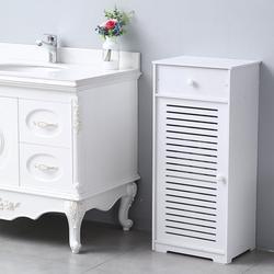 Bathroom Storage Cabinet, Floor Standing Storage Cabinet w/ Doors, Drawer, and Shelves, PVC Bathroom Organizers and Storage, Utility Storage Cabinet for Living Room, Bedroom, Kitchen, White, W3888