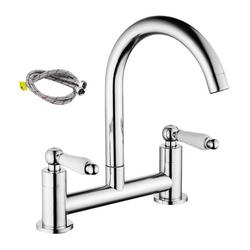 Miuline Kitchen Sink Mixer Taps 2 Hole Chrome Brass Deck Mounted Double Handle Faucet 360° Swivel Spout Traditional Kitchen Sink Taps for Kitchen, Bathroom, Toilet