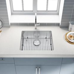Kitchen Sink 304 High Quality Stainless Steel Under Counter Kitchen Sink Modern Kitchen Sink, Concave Single Sink 23*18*9 Inch Stainless Steel Kitchen Sink and Accessories