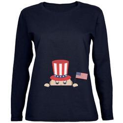 4th of July - Peeking Baby Navy Womens Long Sleeve T-Shirt - X-Large