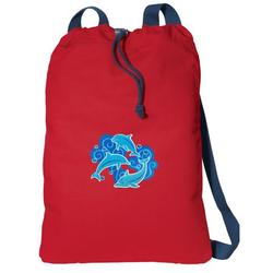 Canvas Dolphin Drawstring Bag DELUXE Dolphins Backpack Cinch Pack for Him or Her