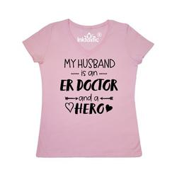 Inktastic My Husband is an ER Doctor and a Hero Adult Women's V-Neck T-Shirt Female Pink XXL