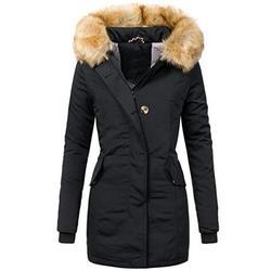 Winter Fashion Women Fur Hoodies Coat High Collar Long Sleeve Coat Warm Outwear Windbreaker Coat Slim Fit Thickening Long Coat Casual Solid Color Zipper Coat Cute Side Pocket Fur Coat
