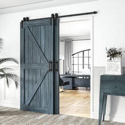 HAHAEMALL Single Track Bypass Barn Door Hardware Double Doors Kit, Heavy Duty Sliding Barn Door Hardware in Black, Size 216.0 W in | Wayfair