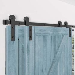 HAHAEMALL Single Track Bypass Barn Door Hardware Double Doors Kit, Heavy Duty Sliding Barn Door Hardware(I Shape Hanger) in Black, Size 168.0 W in