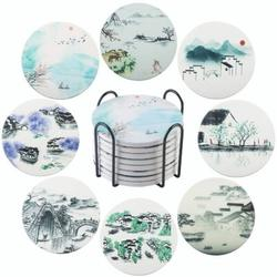 """HOU Coasters For Drinks - Set Of 4 Coasters, Silicone, Protect Against Water Marks Or Damage - Fit All Cups, 3.6"""" Inch Size Fits 