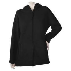 Denim & Co Zip Fleece Jacket Hood Sherpa Lining Women's A209822