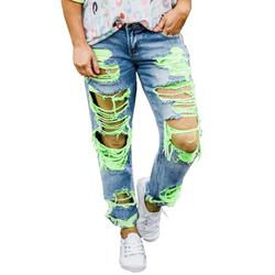 Womens Plus Size Distressed Ripped Mid Waist Denim Trousers Destroyed Hole Denim Jeans Pants Zipper Button Junior Skinny Jeans