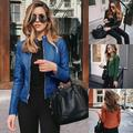 Faux Leather Jacket Women Coat Casual Slim Soft Moto Biker Basic Streetwear Jacket Spring Autumn