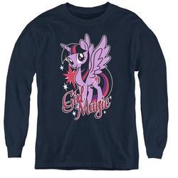 Trevco HBRO147-YL-3 My Little Pony TV & Girl Magic-Youth Long Sleeve T-Shirt, Navy - Large
