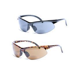 2 Pair of Unisex Bifocal Sport Wrap Sunglasses - Outdoor Reading Sunglasses - Black/Tortoise - 2.50
