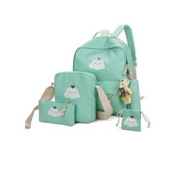 Lowestbest 5Pcs/Sets Canvas School Backpacks for Teenage Girls, School Scatchel Rucksack Backpacks for School(1 Backpack+1 Handbag+1 Pencil Bag +1 Wallet), Green School Backpack for Kids