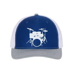 Drummer Hat, Gift For Drummer, Drumset Hat, Drummer Gift, Percussion Hat, Gift For Him, Musician Hat, Birthday Gift, Drumming Cup, Drums, Royal/White/Heather