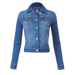 FashionMille Regular Slim Fit Washed Denim Women Jacket Jean Jacket