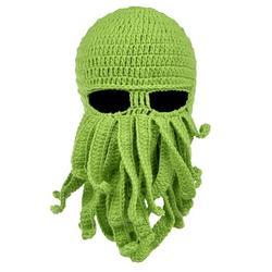 Octopus Cthulhu Beard Hat Beanie Hat Knit Hat Winter Warm Octopus Hat Windproof Funny Men Women Hat Cap Wind Ski Mask in Green