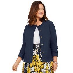Jessica London Women's Plus Size Collarless Denim Jacket Button Front Stretch Jean Jacket