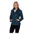 Denim and Co. Faux Leather Jacket w/ Faux Sherpa Collar,Mallard Blue,Size XXS, $69