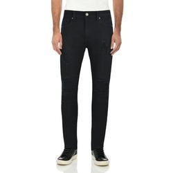 RAW X Men's Slim Fit Skinny Biker Jean, Comfy Flex Stretch Moto Wash Rip Distressed Denim Jeans Pants