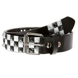 "Snap On 1 1/2"" White & Black Checkerboard Punk Rock Studded Belt"