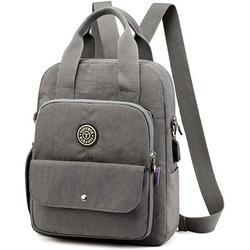 Women Backpacks, Women Backpack Nylon Shoulder Bag Crossbody Handbag Waterproof Shoulder Bag Casual School Backpacks Multifunctional Travel Bag with USB Interface (Gray)