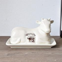 MingshanAncient Butter Dish Household Multi-Purpose Box Butter Cheese Plate Creative Cow Shape European Style Table Butter Dish w/ in Green/White