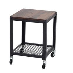 MANY TREES Living Room Industrial Side Table, 2-Layer Metal Frame Living Room Sofa Coffee Table, Wheeled Side Table | Wayfair WJ-W39624323