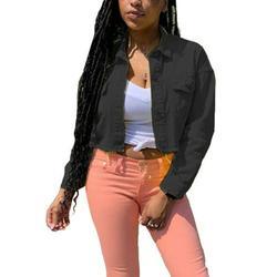 Women's Boyfriend Long Sleeve Cropped Jacket Denim Coat Slim Fit Jean Jacket Coats