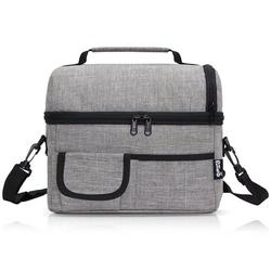 PuTwo Insulated Lunch Bag 8L Leakproof Lunch Bag for Adults Lunch Bag for Kids Women Men Lunch Boxes Picnic Bags Lunch Cooler Bag Meal Prep Bag Bento Box Lunch Tote for Camping Travel - Grey