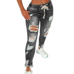 Women Ripped Jeans Casual Denim Pants Sexy Hole Elastic Skinny Destroyed Holes Jeans Pants Trousers