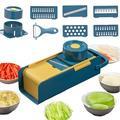 OXINGO Mandoline Slicer Vegetable Slicer Cutter & Grater 7 In 1 Vegetable Cutter Potato Slicer Vegetable Shredder Garlic Mincer in Blue/Yellow