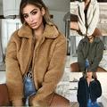 Women's Lady Faux Fur Coats Winter Solid Lapel Turn Down Collar Slim Zipper Short Cropped Jackets Warm Coat for Women