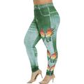 Women Fashion Plus Size Skinny Butterfly Print Jeggings Casual Faux Denim Jeans