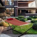 Prime Garden Lazy Daze Hammocks 12 Feet Steel Hammock Stand w/ Quilted Fabric Hammock Combo & Pillow, Red& StripeCotton in Brown   Wayfair