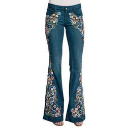 Women Flare Jeans Elastic Waist Bell Bottom Embroidery Floral Denim Pants Ladies Juniors Bell Bottom High Waist Fitted Denim Jeans