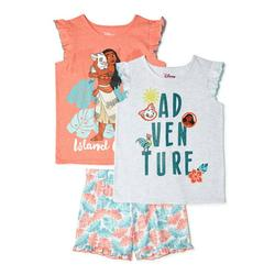 Disney Princess Girls Mix and Match Tops and Shorts, 3-Piece Outfit Set, Sizes 4-16