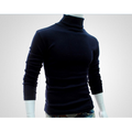 Musuos Fashion Mens Roll Turtle Neck Pullover Knitted Solid Casual Jumper Tops Tee Sweater