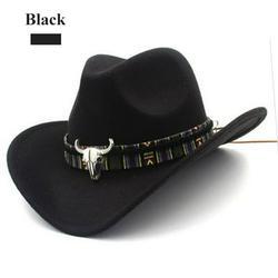 Cowboy Hat for Men Faux Felt Western Outdoor Wide Brim Hat with Strap Jazz Hat, Wide Brim Panama Cowboy Hats Floppy Sun Hat for Beach Church Black