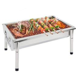 SLEI Charcoal Grill BBQ Barbecue Portable BBQ Grill Stainless Steel Kabab Grill Folding Camping Grill BBQ For Shish Kabob Grill Cooking Small Grill Porta